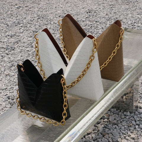 Double X Large Leather Triangle Bag
