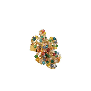 side view of flower ring made from gold wire and colorful beaded crystals