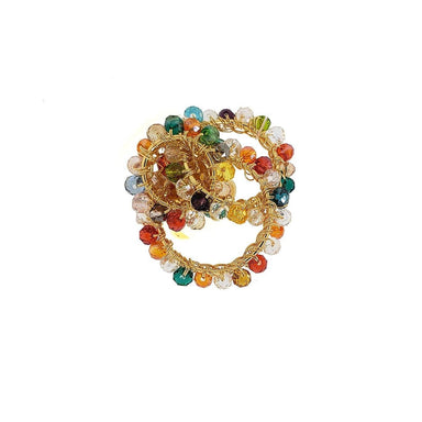 ring made of gold wire loops with multi color beaded crystals
