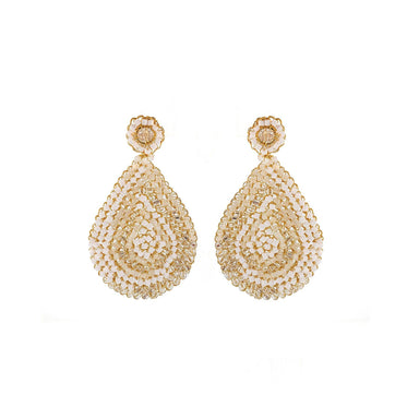 pair of tear drop earrings with white and clear crystals and gold wire