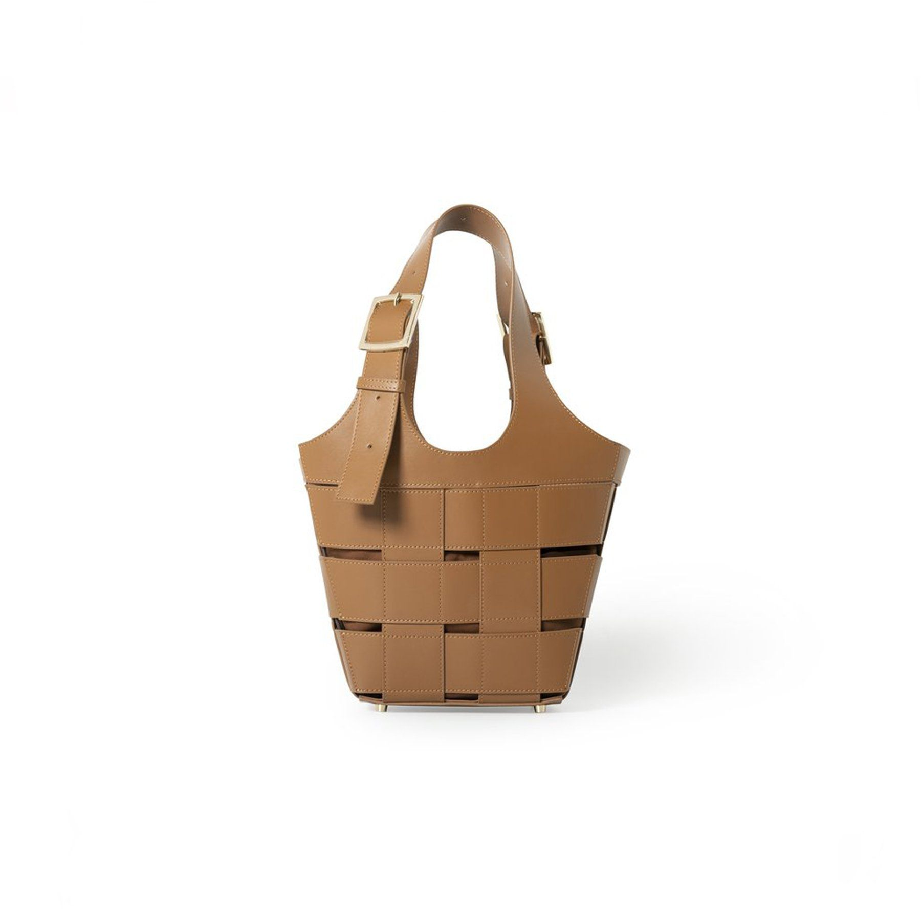 Quincy - Woven Leather Bucket Bag, Brown