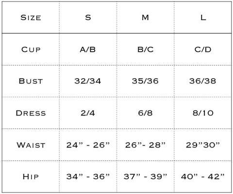 size chart for sauipe swimwear