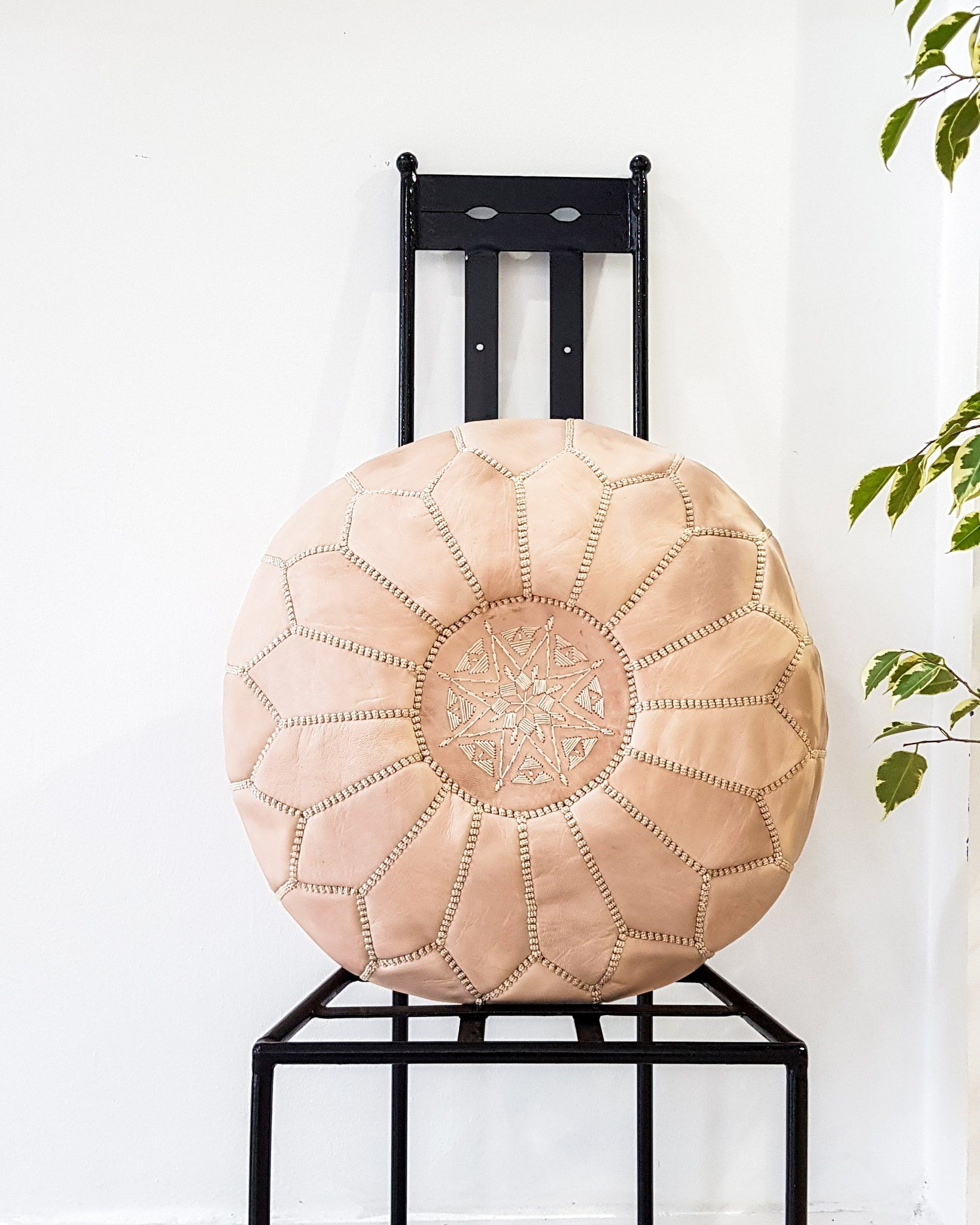 Moroccan Leather Ottoman-Pouf Natural