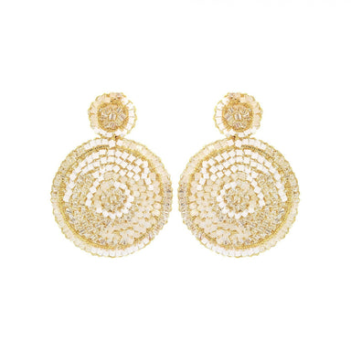 pair of white and gold wire crochet mandala earrings