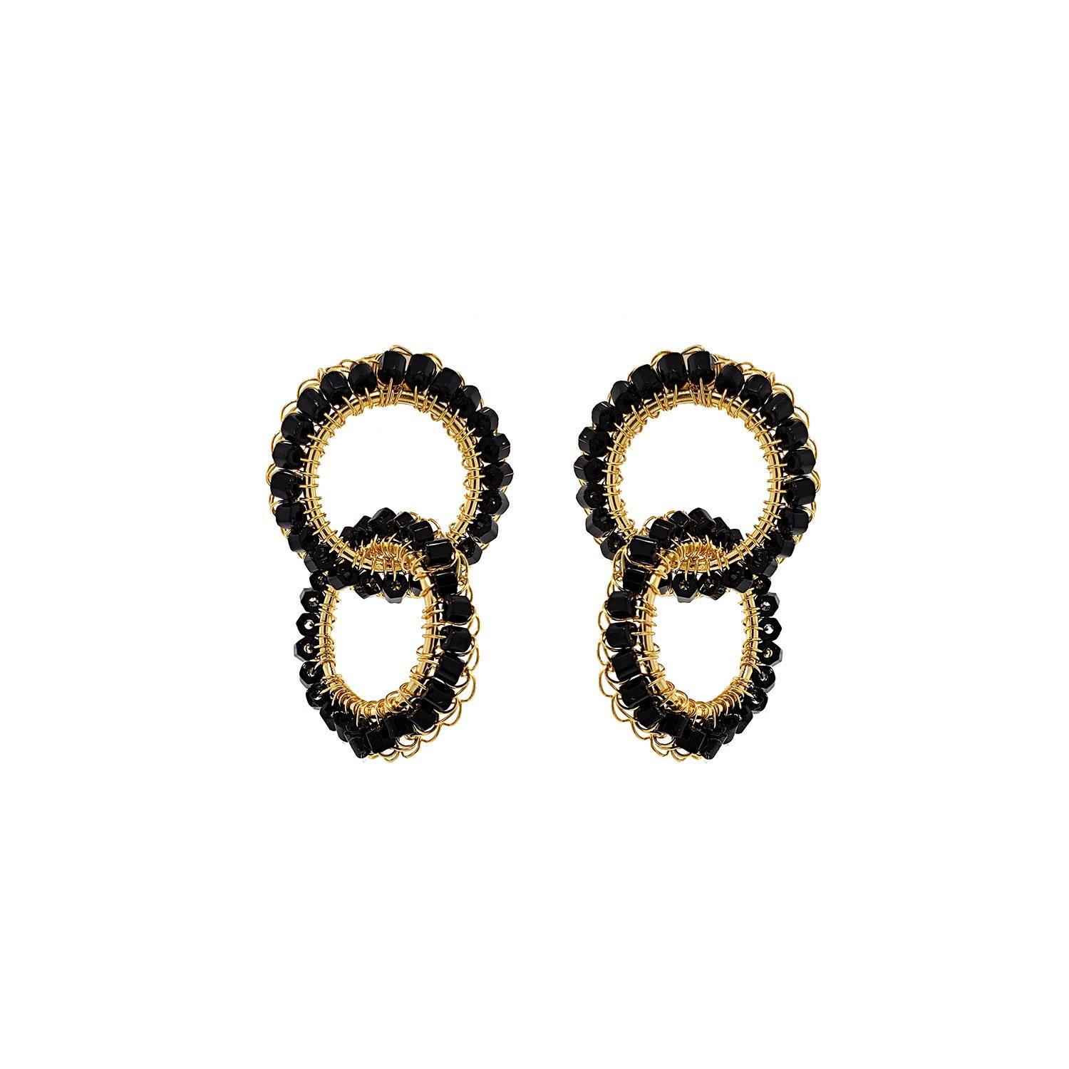 pair of double hoop earrings made of gold wire and black crystals