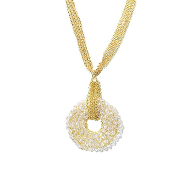 gold chain necklace with clear crystal pendant in o shape