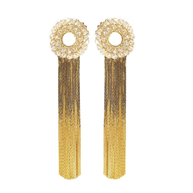 pair of duster earrings with crystal open circles and long gold fringe.