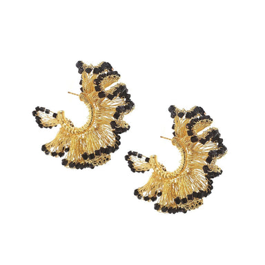 pair of ruffle shaped hoop earrings with gold crochet wire and black crystal trim