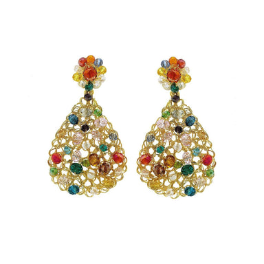 pair of earrings with multi color crystals and gold wire in teardrop shape