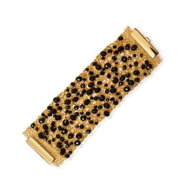 gold wire thick mesh cuff bracelet with black crystals woven throughout