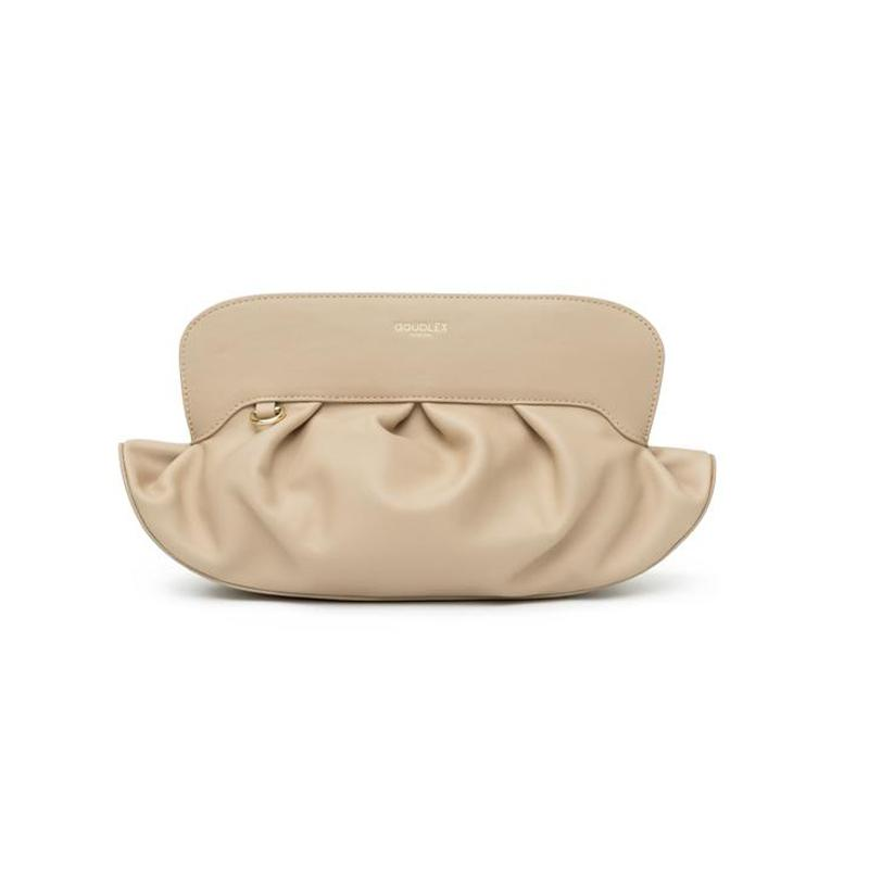 Cloud Clutch - Gathered Leather, Beige