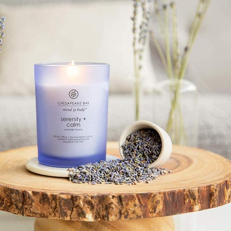 Mind & Body Scented Candle, Serenity + Calm (Lavender Thyme), Coffee Table - [Yes She May]