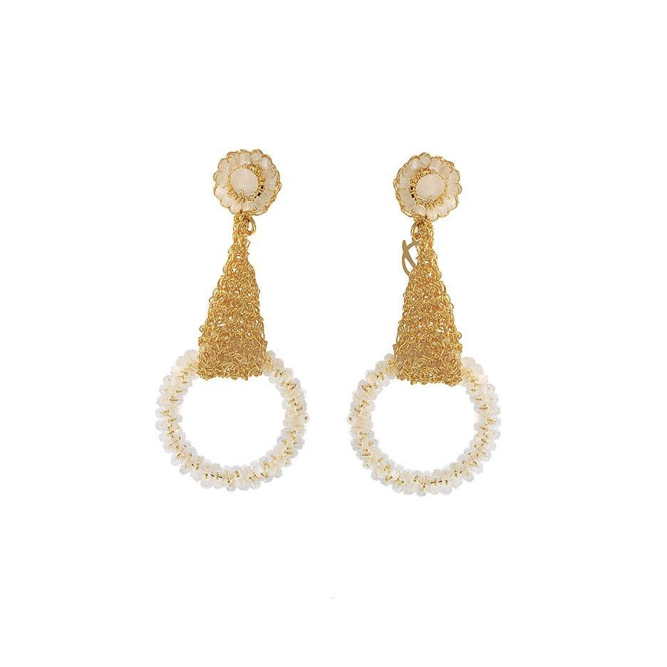 pair of earrings with gold wire and white crystal circles