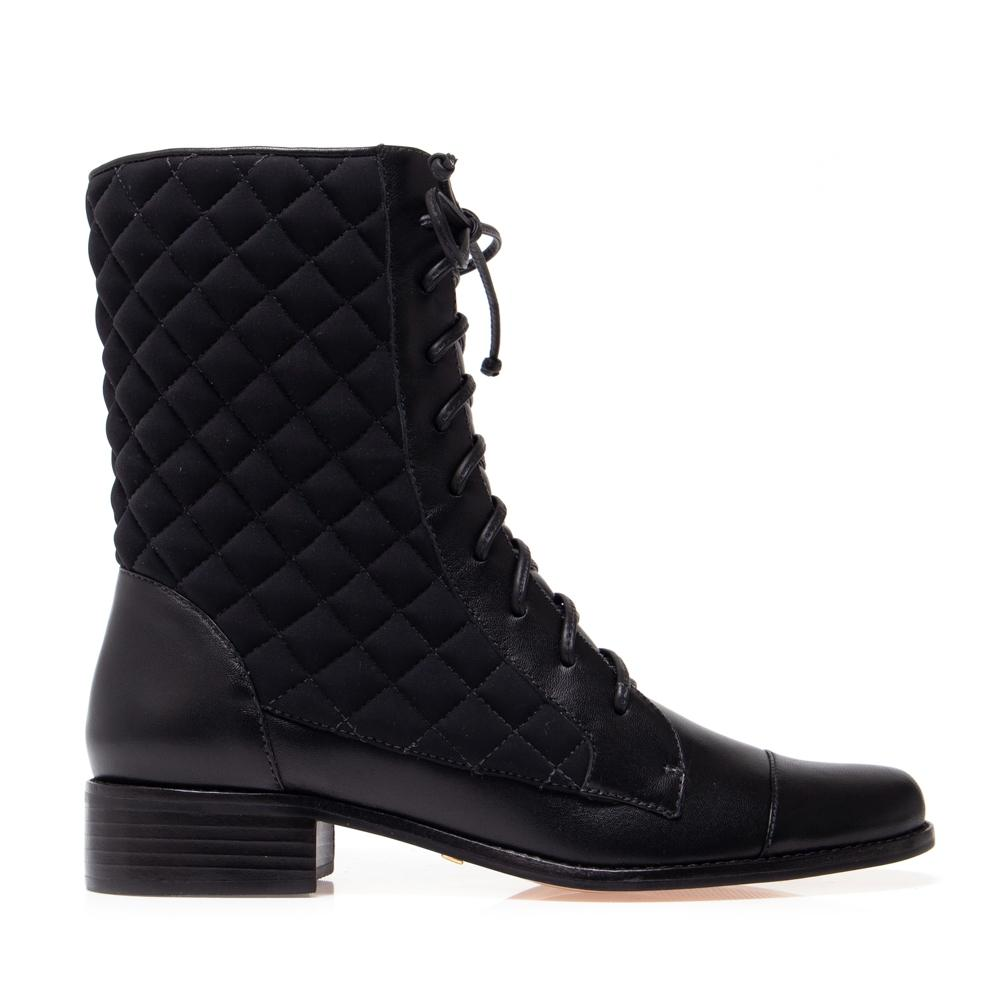 Mona Quilted Combat Boot - Black