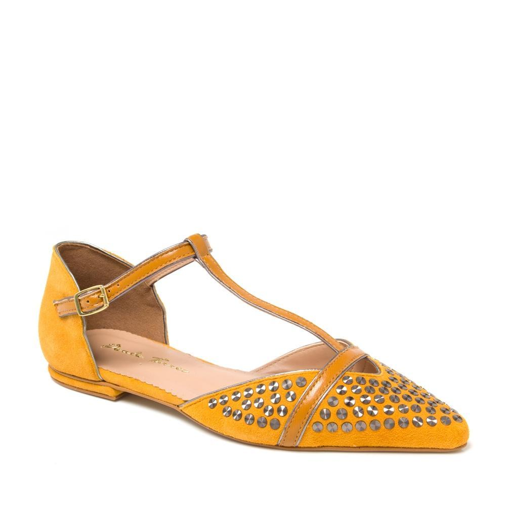Siena T-Strap Pointed Toe Flat - Mustard