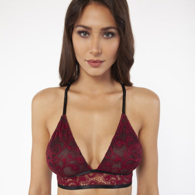 woman wearing red and black lace bra