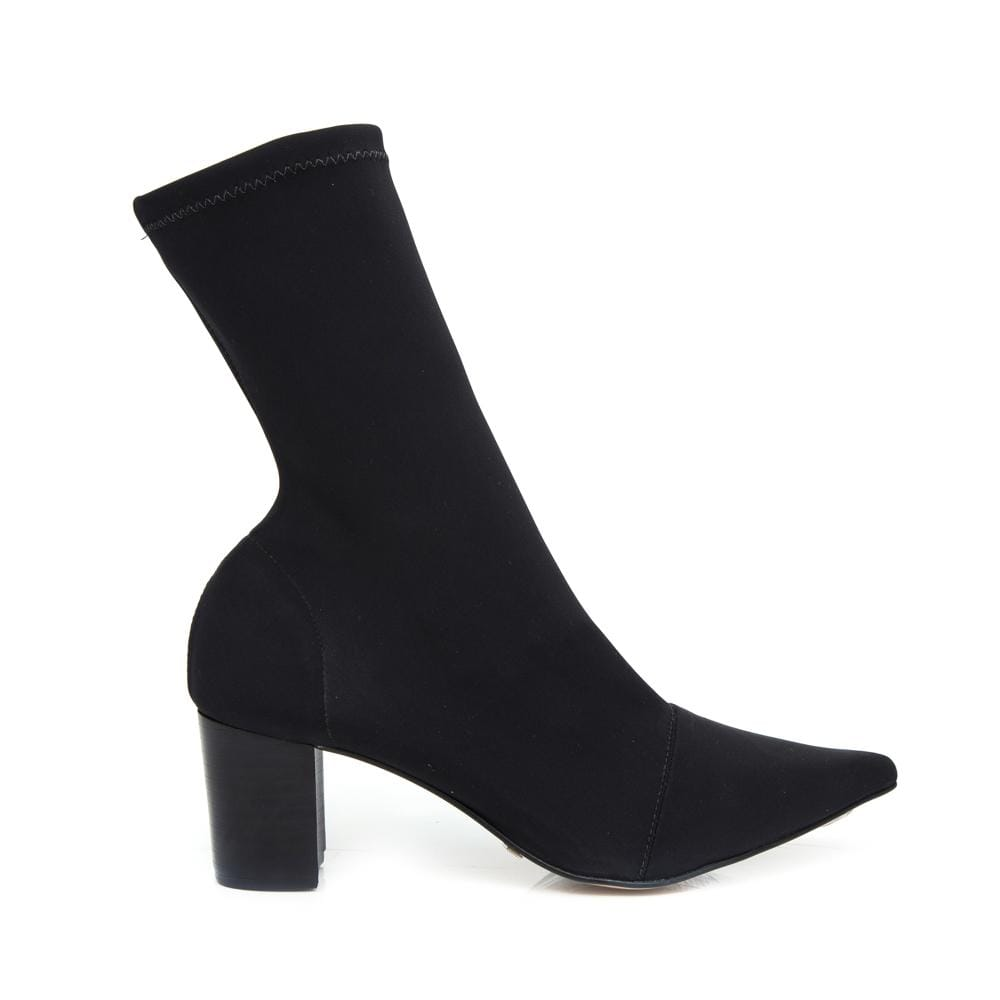 black heeled boot side view