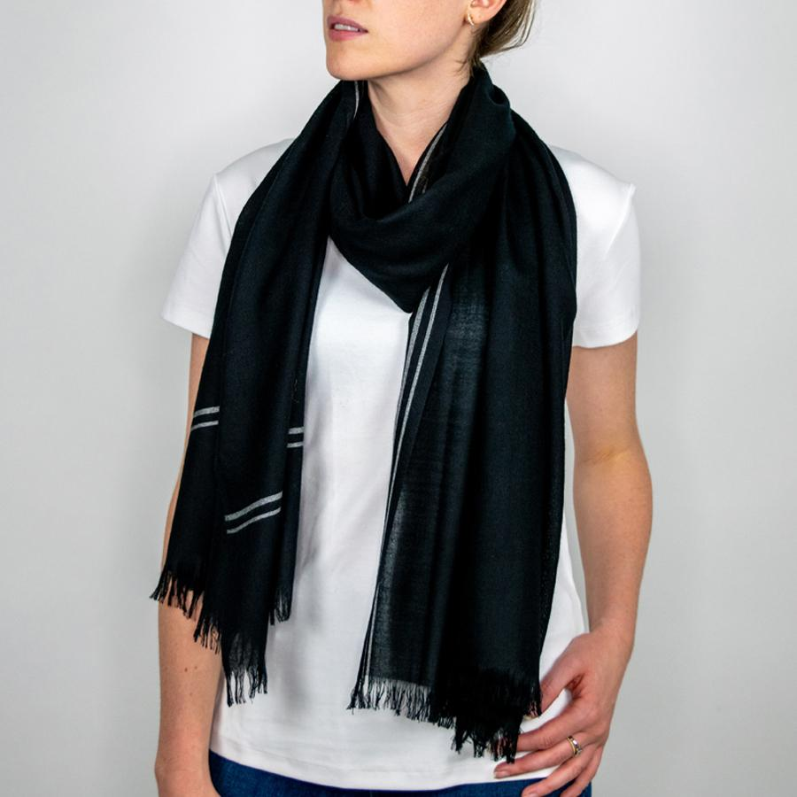 Wool Scarf in Navy Stripe