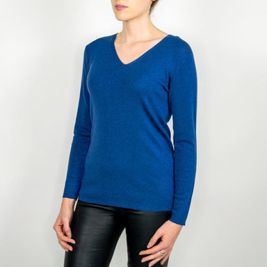 Metallic V-Neck Wool Sweater