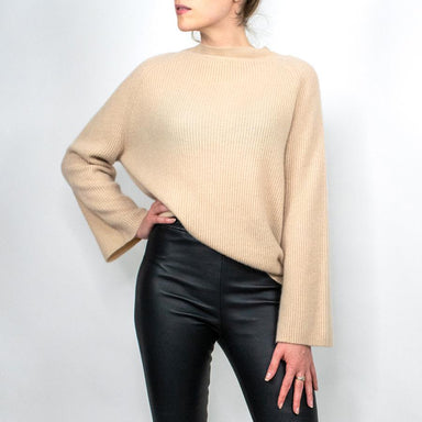 Cashmere Wide-Sleeve Mockneck Sweater