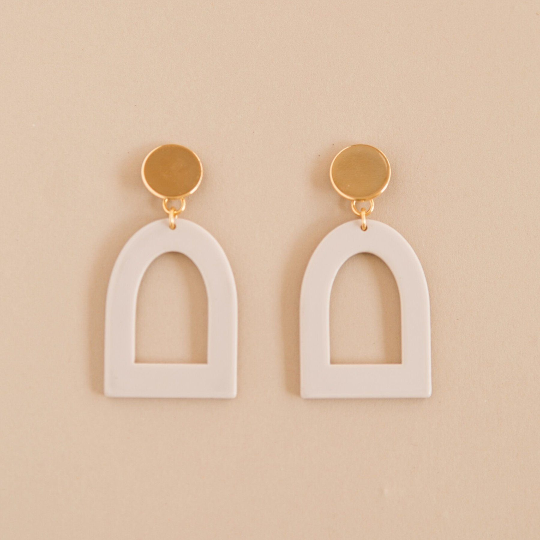 Window Earrings in Glossy Bisque Acrylic