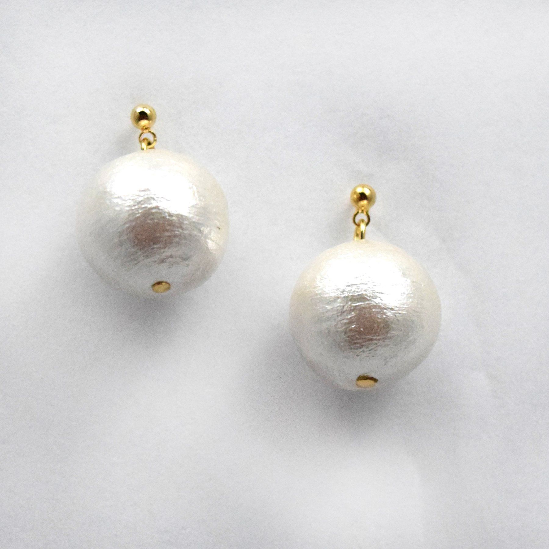 Small Cotton Pearl Drop Earrings