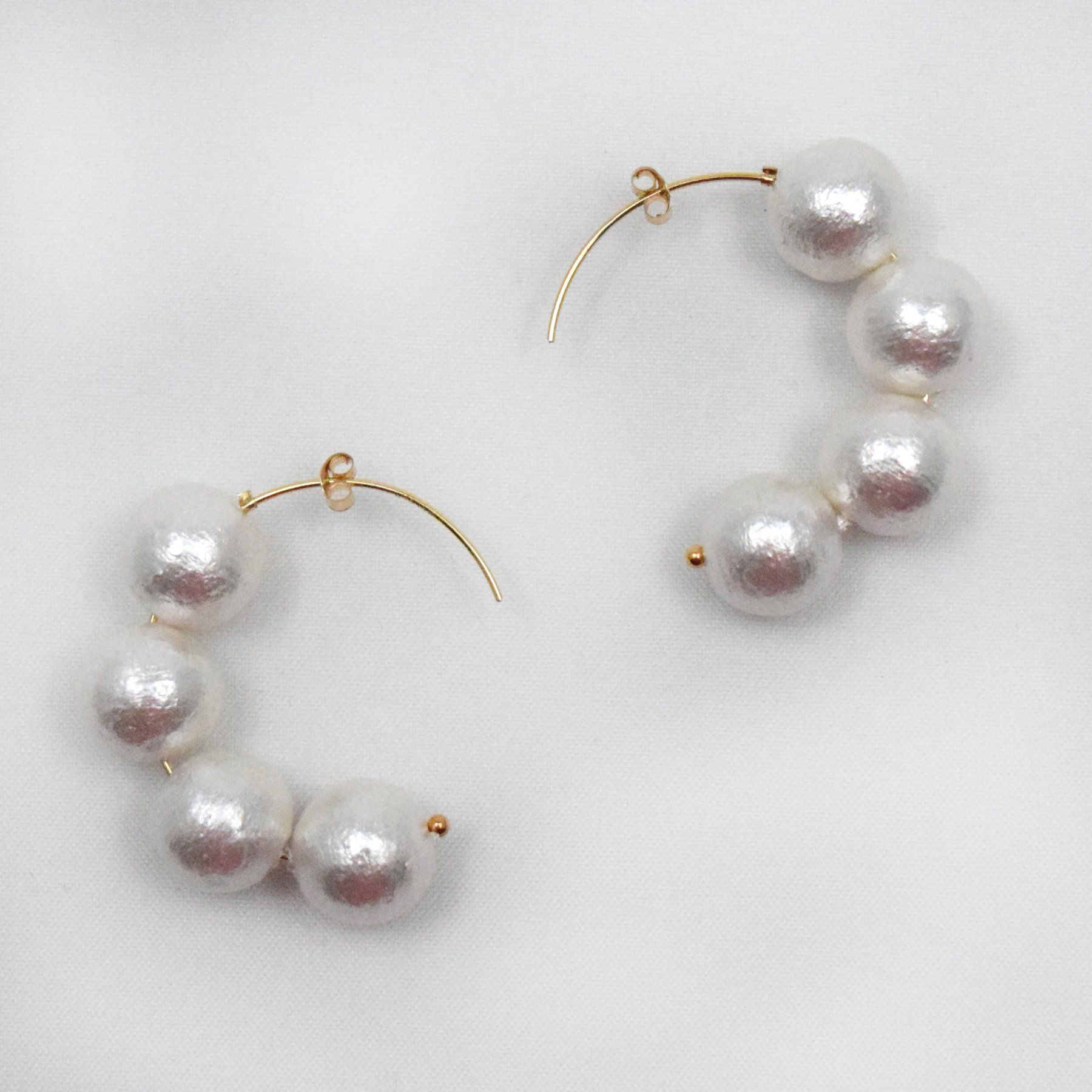 Cotton Pearl Hoops
