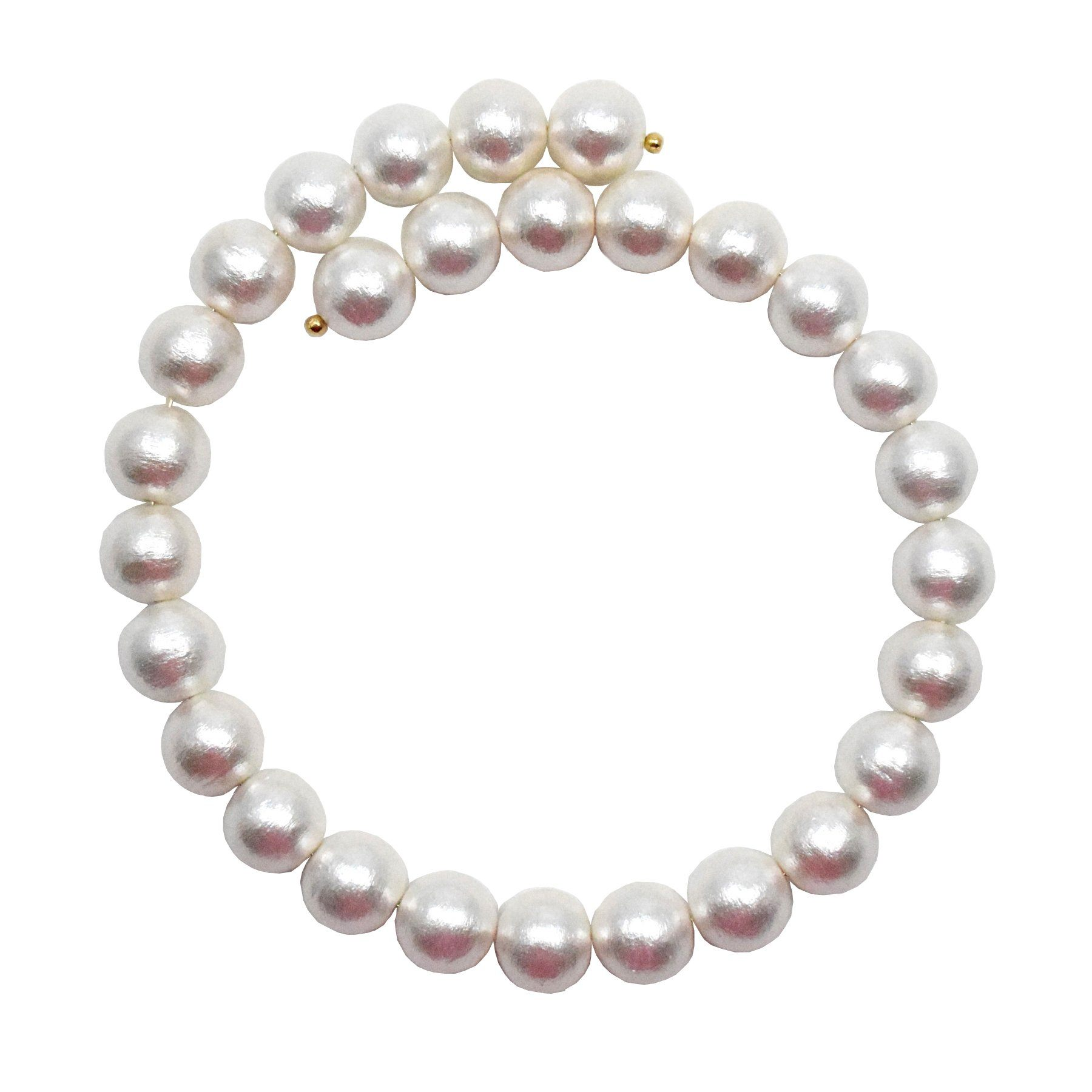 full view of pearl choker necklace with rows of oversized pearls and open adjustable back