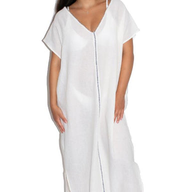 picture of model wearing a white oversized short sleeve v-neck caftan dress