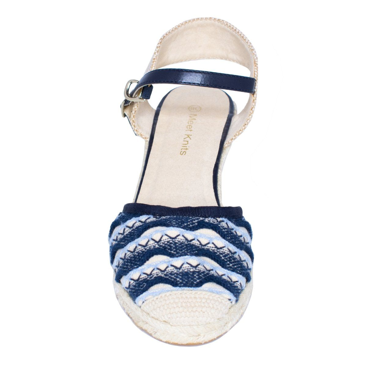 Top close view of wedge sandal with buckle and closed toe in Navy blue