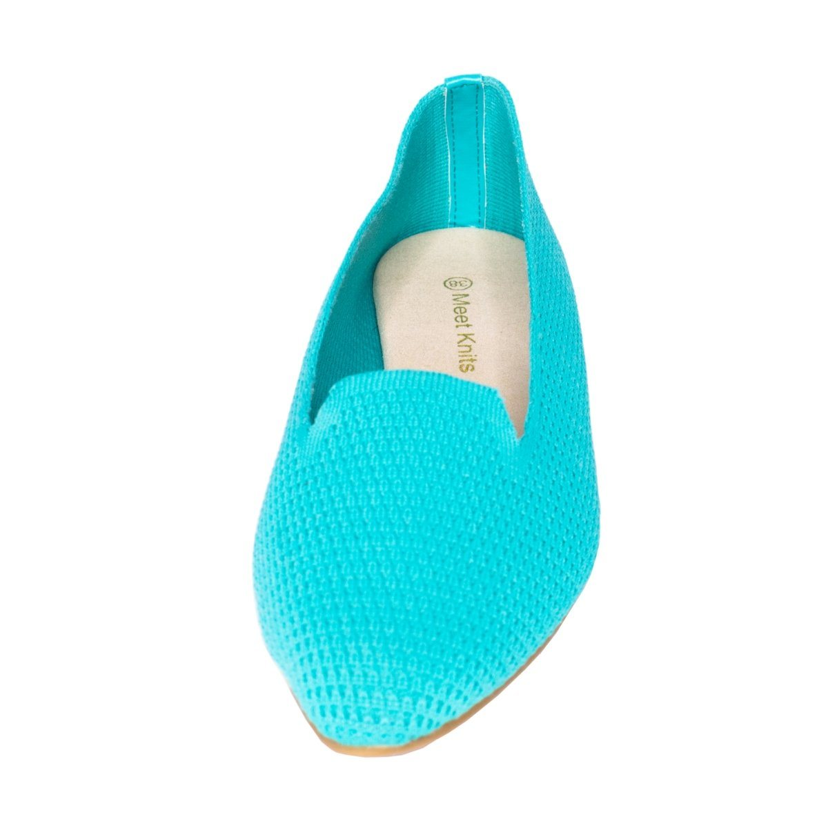 Front close view of blue knitted flat slip on shoes