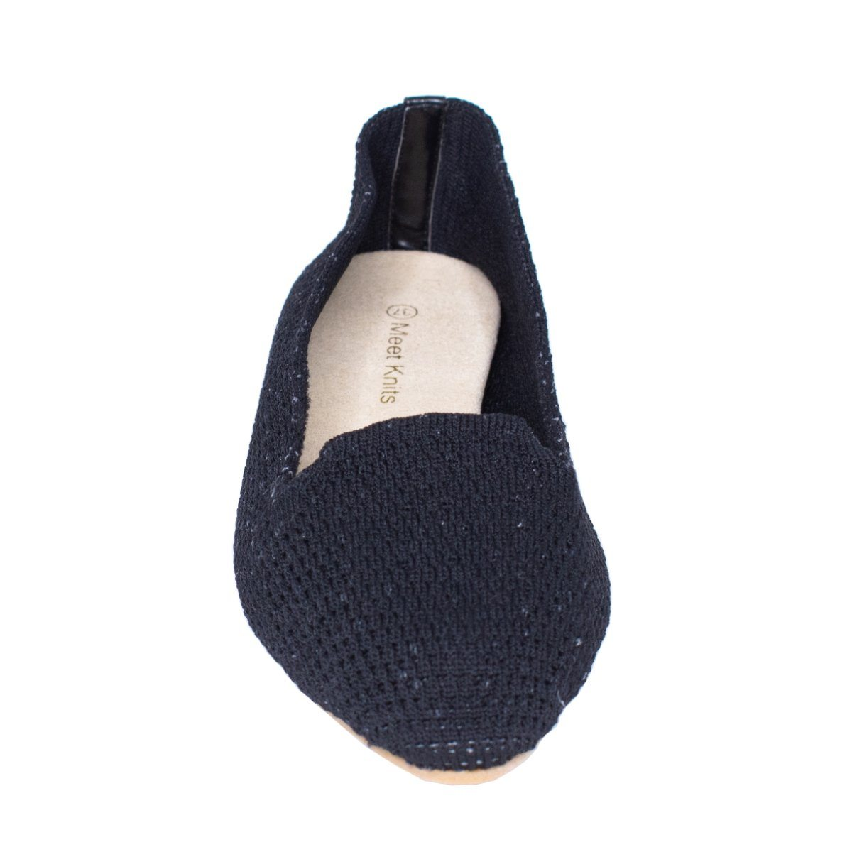 Front close view of black knitted flat slip on shoes