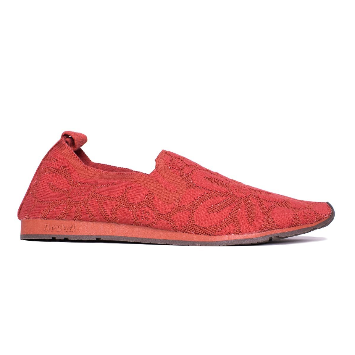 Side close view of red walking shoe