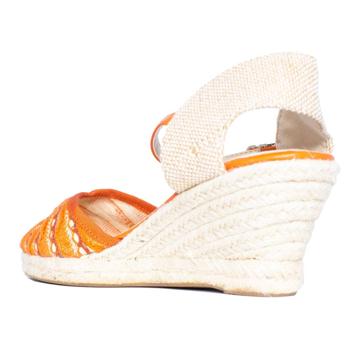 Back close view of knit wedge sandal with orange woven pattern