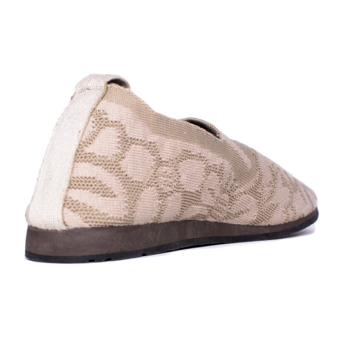 Back close view of gray walking flat shoe with lace pattern