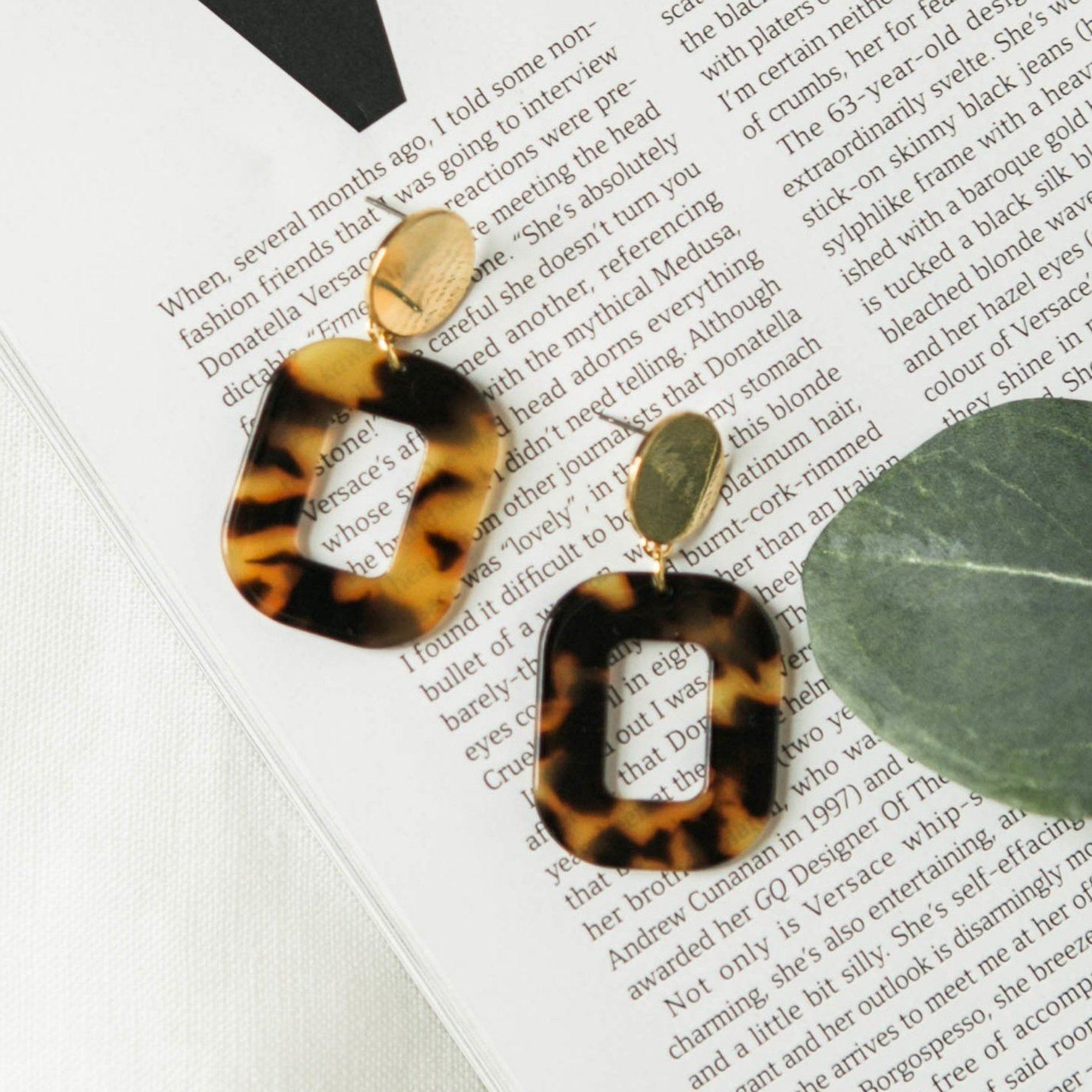 Acrylic Petite Square Earrings in Amber Tortoise