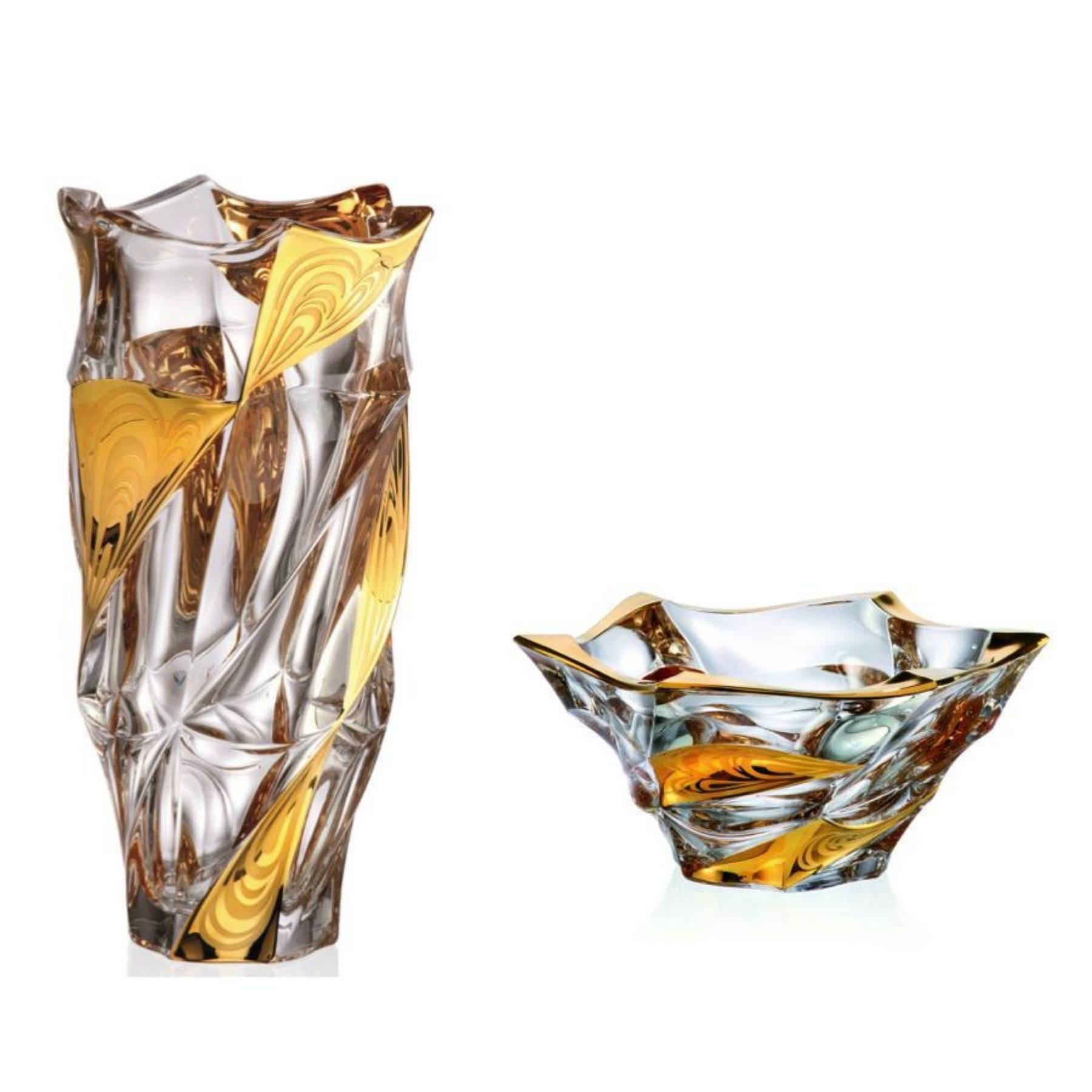 Gold stripe crystal glass vase & bowl set