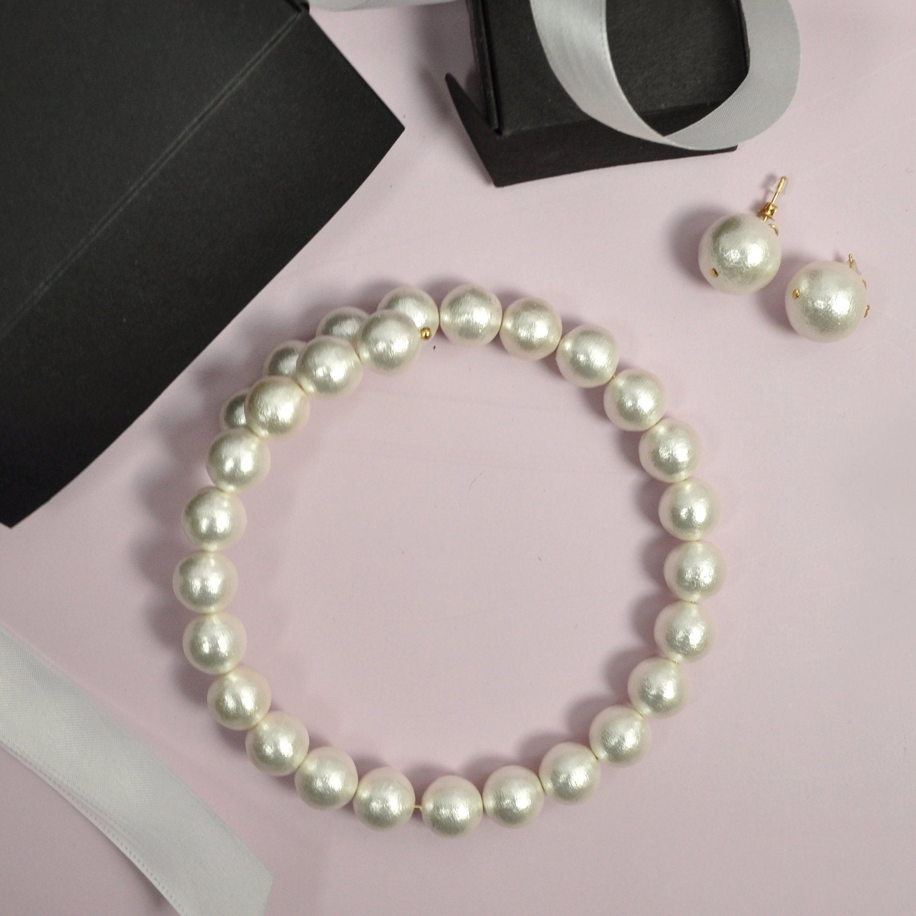 Cotton Pearl Necklace & Earring - Gift Set