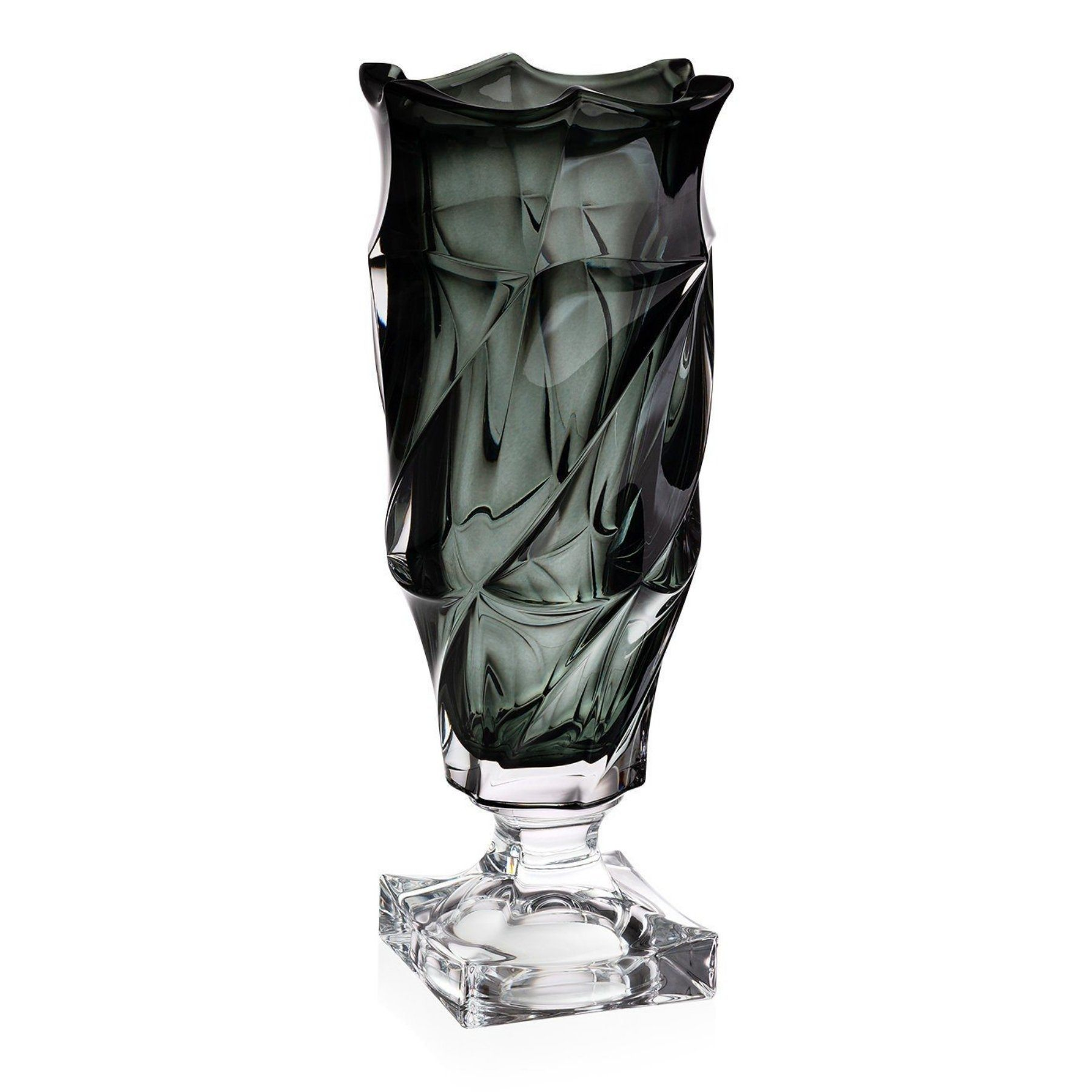 'Flamenco' Footed Crystal Vase - Grey