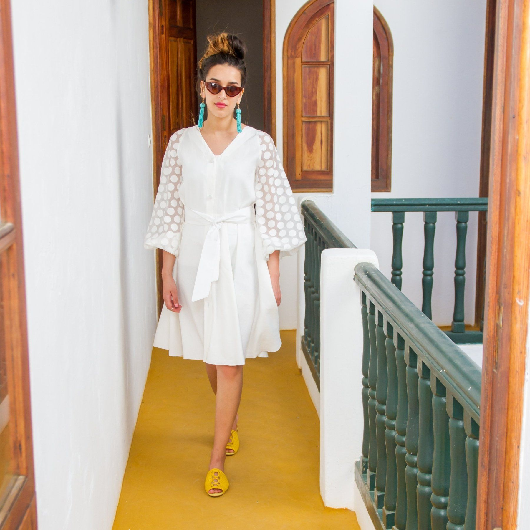 'Martina' White Linen Dress