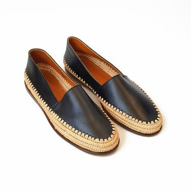 Cecily Black Raffia Espadrille - [Yes She May]