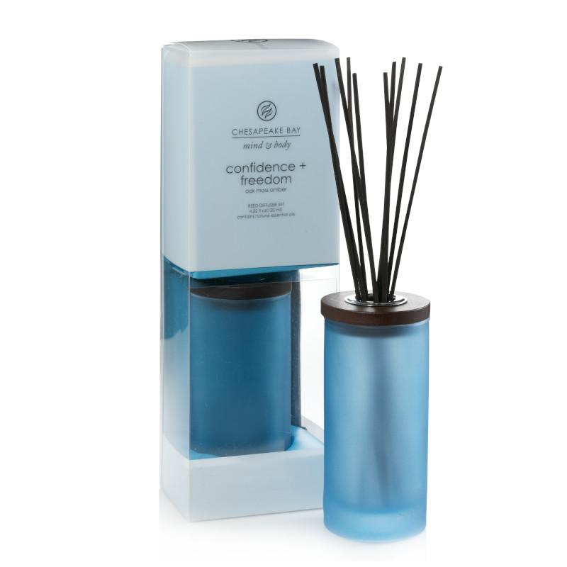 reed diffuser in frosted blue glass jar.