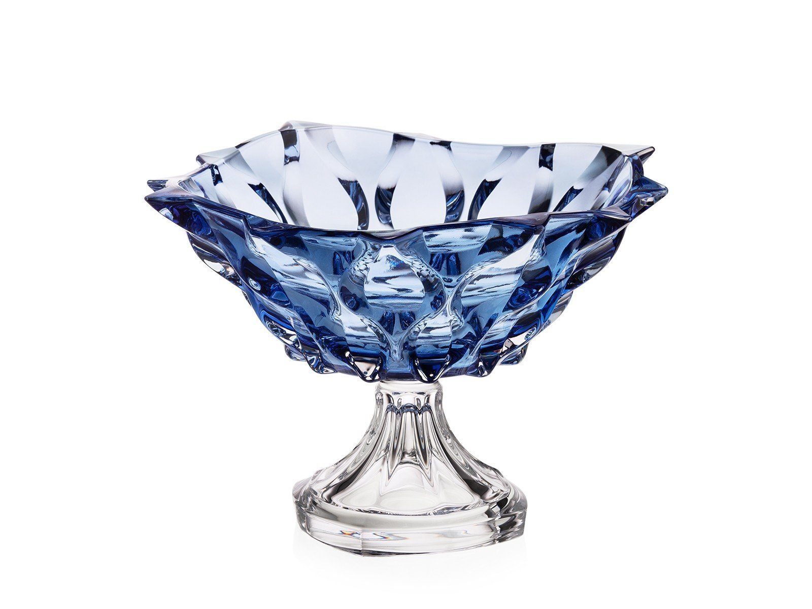 'Samba' Footed Crystal Bowl - Blue