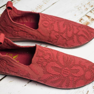 Top Side close view of red lace walking shoe