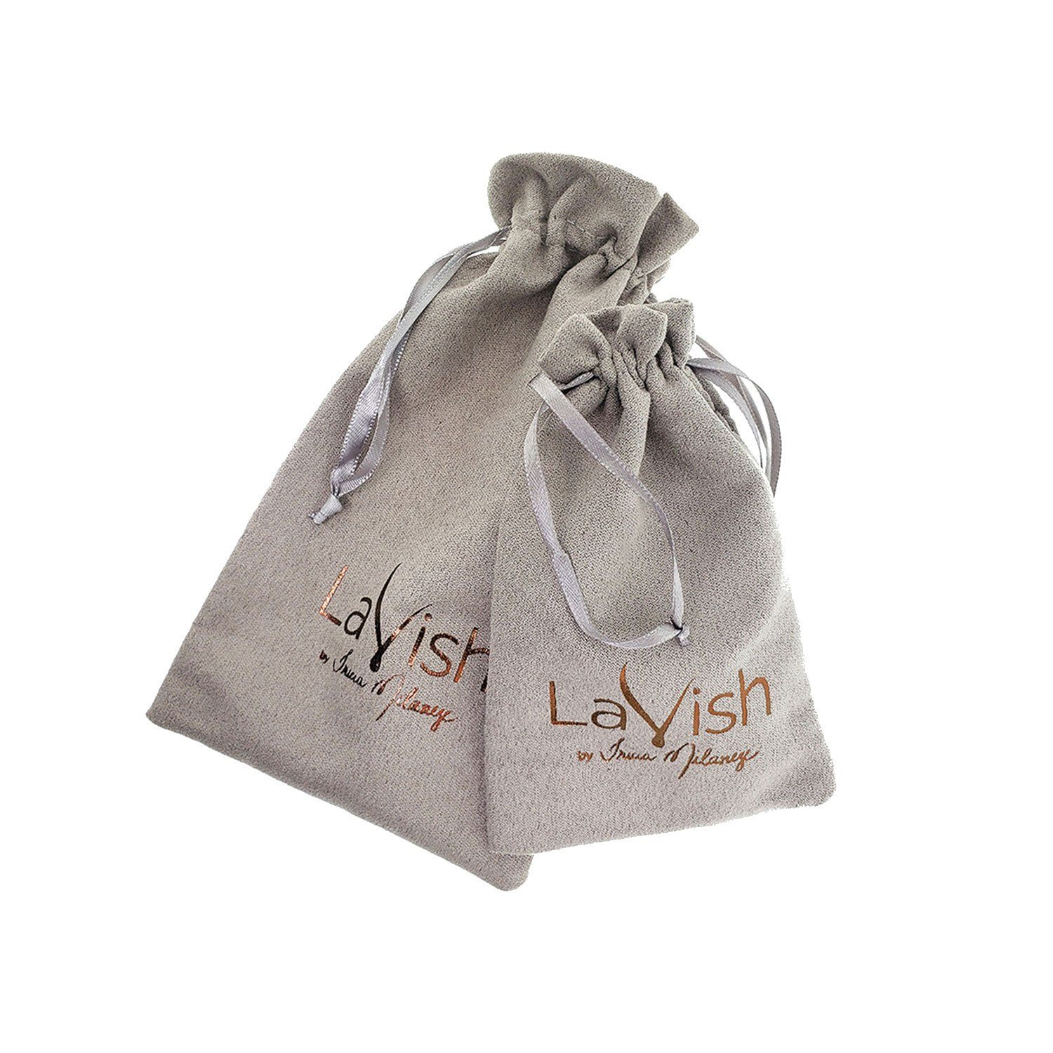 2 Grey velvet jewelry pouches with lavish logo