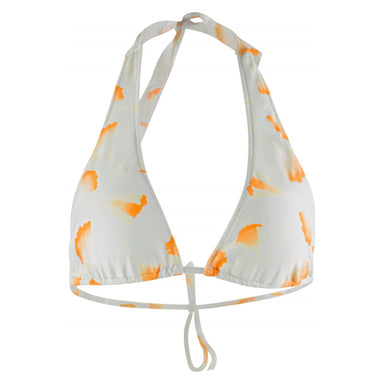 white halter bikini top with neck tie and back string tie. White and yellow floral pattern throughout