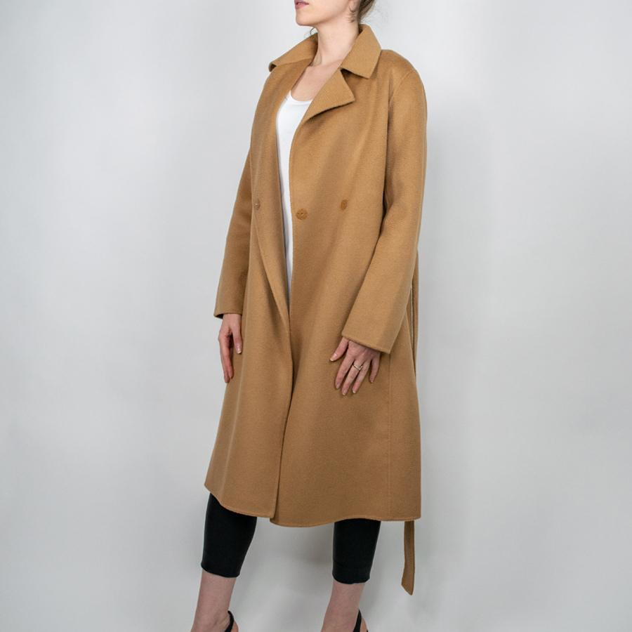 Long Wool-Cashmere Coat in Camel