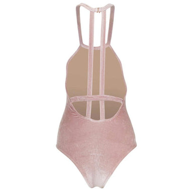 back of velvet baby pink swimsuit with two straps vertical in center and one horizontal strap toward bottom of back