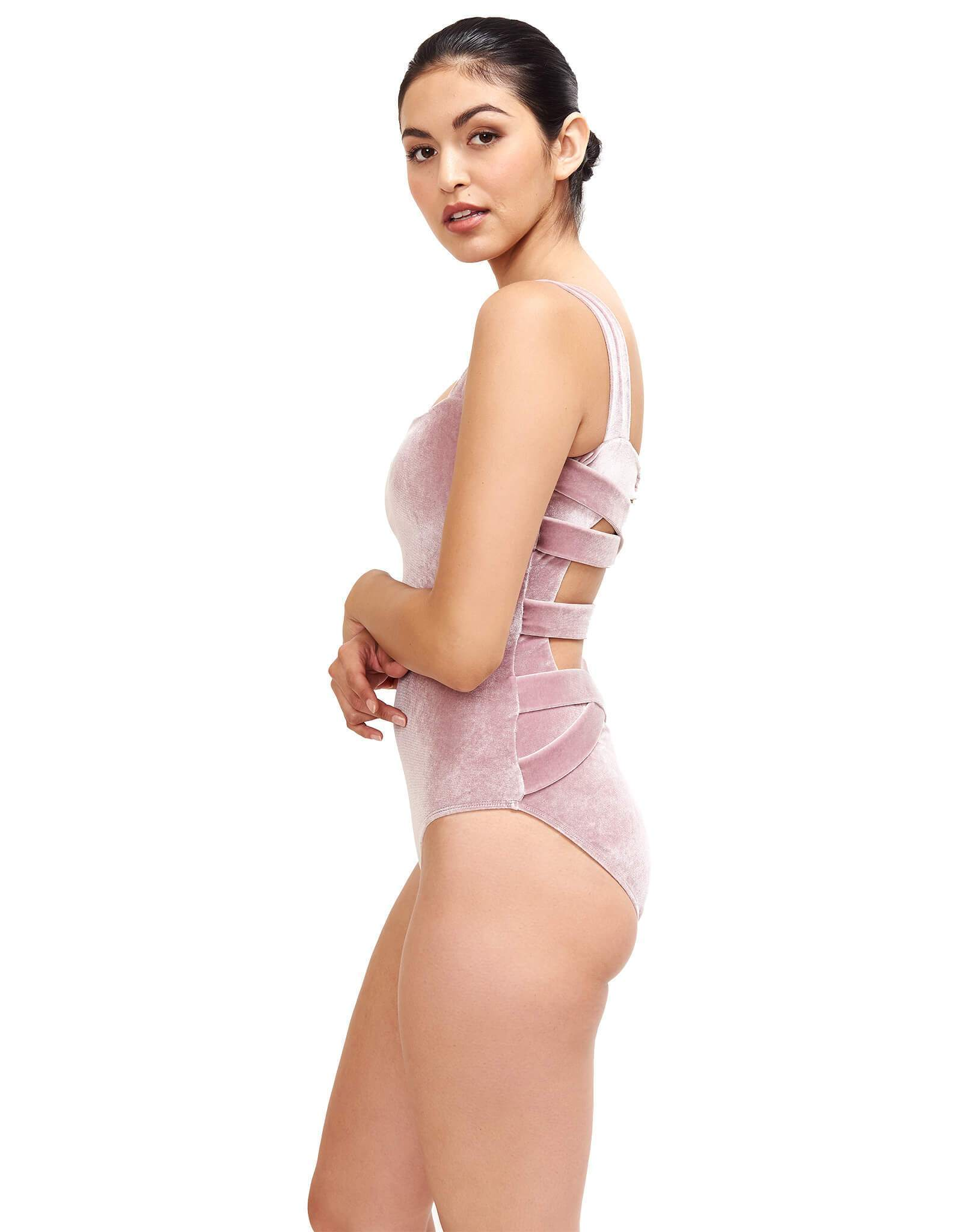 Donatella Velvet Square Neck One Piece - Pink