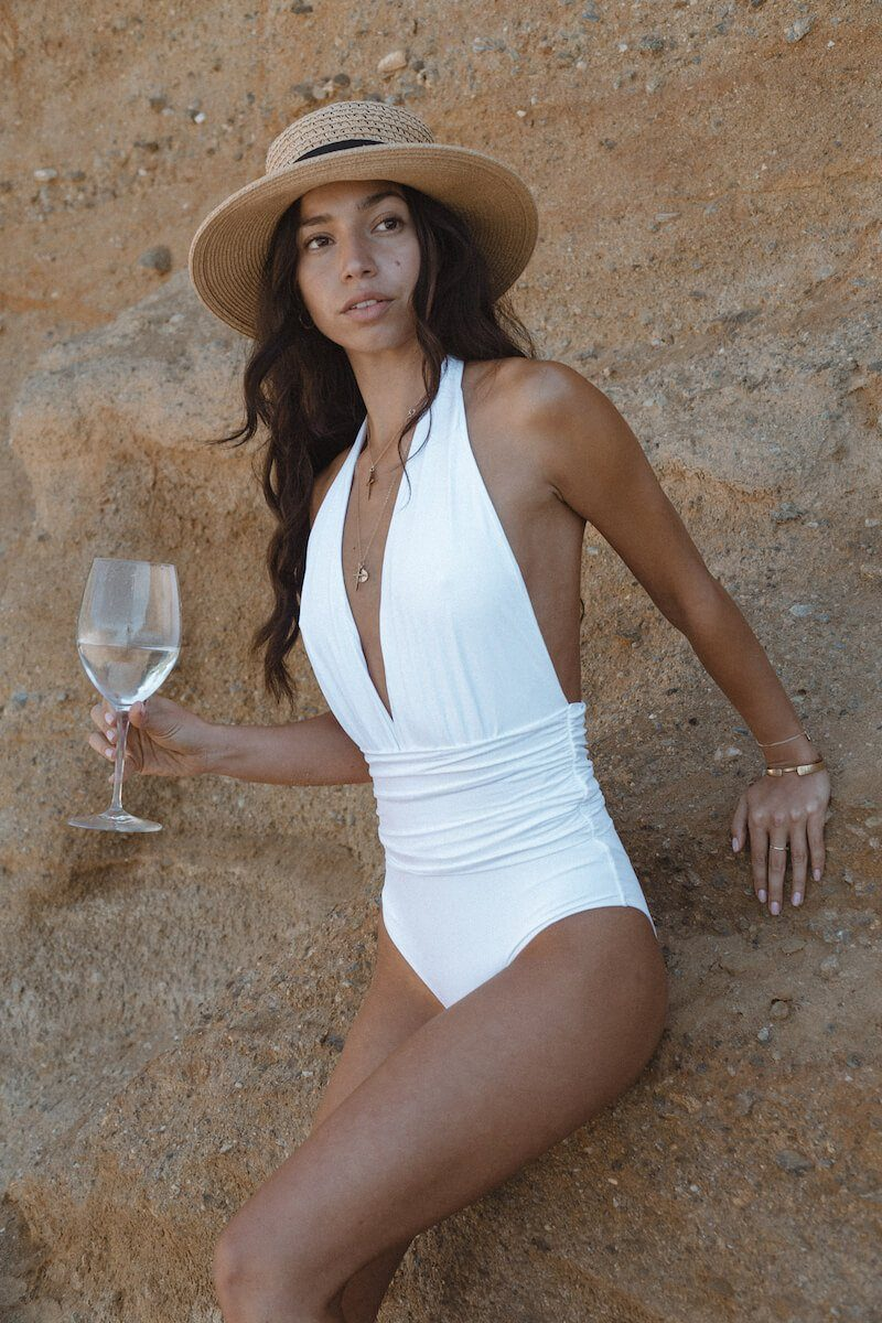 Eva V-Neck One Piece - White